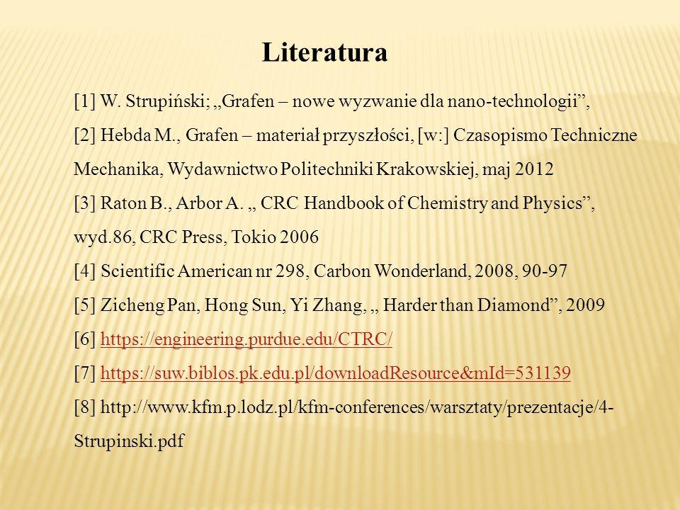 """Literatura [1] W. Strupiński; """"Grafen – nowe wyzwanie dla nano-technologii ,"""